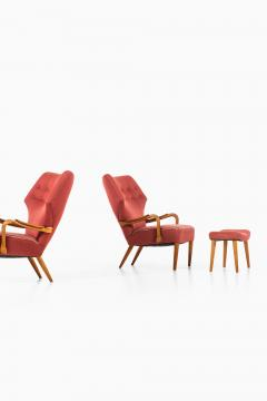 Acton Schubell Easy Chairs and Stool Produced by E Sv Olsen - 1914777