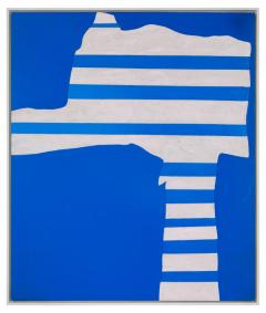 Adja Yunkers Acrylic on Canvas Painting Stripes on Blue  - 1210465