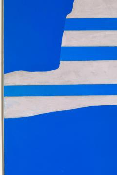 Adja Yunkers Acrylic on Canvas Painting Stripes on Blue  - 1210466