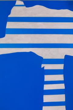 Adja Yunkers Acrylic on Canvas Painting Stripes on Blue  - 1210467