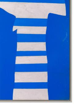 Adja Yunkers Acrylic on Canvas Painting Stripes on Blue  - 1210468