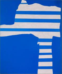 Adja Yunkers Acrylic on Canvas Painting Stripes on Blue  - 1210528