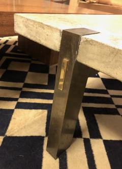 Ado Chale Vintage Architectural Concrete and Bronze Coffee Table - 1265431