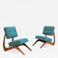 Adrian Pearsall Adrian Pearsall Mid Century Modern Walnut Pair of American Lounge Chairs - 1545427