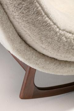 Adrian Pearsall Adrian Pearsall Waive Chaise Rocker Lounge in Ivory Shearling with Walnut Legs - 2101343