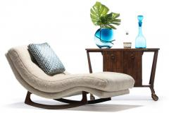 Adrian Pearsall Adrian Pearsall Waive Chaise Rocker Lounge in Ivory Shearling with Walnut Legs - 2101360