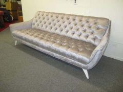 Adrian Pearsall Amazing Regency Modern Silver Grey Velvet Tufted Sofa Mid Century Modern - 1796215