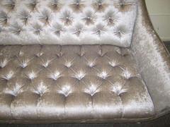 Adrian Pearsall Amazing Regency Modern Silver Grey Velvet Tufted Sofa Mid Century Modern - 1796222