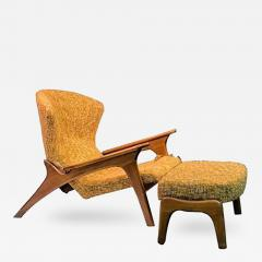 Adrian Pearsall Angular Vladimir Kagan Style Grasshopper Chair And Ottoman  By Adrian Pearsall   411290