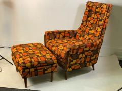 Adrian Pearsall MID CENTURY ADRIAN PEARSALL LOUNGE CHAIR AND OTTOMAN WITH ORIGINAL MOD FABRIC - 1573956