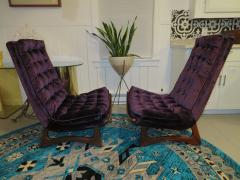 Adrian Pearsall Magnificent Pair of Adrian Pearsall Tall Tufted Sculptural Walnut Scoop Chairs - 1032265