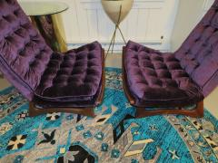 Adrian Pearsall Magnificent Pair of Adrian Pearsall Tall Tufted Sculptural Walnut Scoop Chairs - 1032266