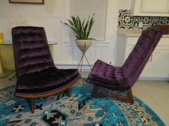 Adrian Pearsall Magnificent Pair of Adrian Pearsall Tall Tufted Sculptural Walnut Scoop Chairs - 1032268