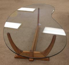 adrian pearsall mid century modern kidney shaped walnut glass coffee table adrian pearsall style