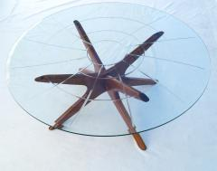 Adrian Pearsall Mid Century Modern Sculpted Glass Top Cocktail Coffee Table by Adrian Pearsall - 1890768