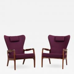 Adrian Pearsall Newly Restored Pair of High Back Wing Lounge Chairs by Adrian Pearsall 1950s - 1129097