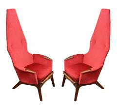 Adrian Pearsall Pair Mid Century Modern Sculptural High Back Lounge Chairs by Adrian Pearsall - 2058957