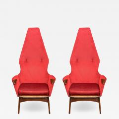 Adrian Pearsall Pair Mid Century Modern Sculptural High Back Lounge Chairs by Adrian Pearsall - 2064746