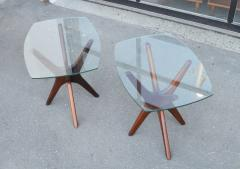 Adrian Pearsall Pair of Solid Afromosia Teak Jacks Jax Side Tables by Adrian Pearsall - 2110576