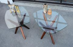 Adrian Pearsall Pair of Solid Afromosia Teak Jacks Jax Side Tables by Adrian Pearsall - 2110590