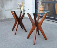 Adrian Pearsall Pair of Solid Afromosia Teak Jacks Jax Side Tables by Adrian Pearsall - 2110591