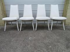 Adrian Pearsall Set Four Adrian Pearsall White Lacquered Dining Chairs Mid Century Modern - 1307536