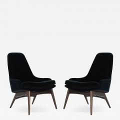 Adrian Pearsall Set of Slipper Chairs by Adrian Pearsall in Navy Mohair 1950s - 2053992