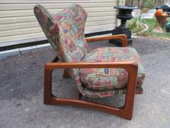 Adrian Pearsall Stylish Pair Adrian Pearsall Unique Wing Back Chair Sculpted Walnut Midcentury - 1296186