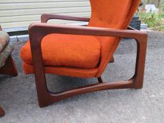 Adrian Pearsall Stylish Pair Adrian Pearsall Unique Wing Back Chair Sculpted Walnut Midcentury - 1296201