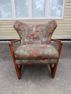 Adrian Pearsall Stylish Pair Adrian Pearsall Unique Wing Back Chair Sculpted Walnut Midcentury - 1296204