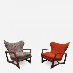 Adrian Pearsall Stylish Pair Adrian Pearsall Unique Wing Back Chair Sculpted Walnut Midcentury - 1298614