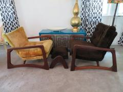 Adrian Pearsall Wonderful Pair of Adrian Pearsall Sculptural Walnut Lounge Chairs plus Ottoman - 1296211