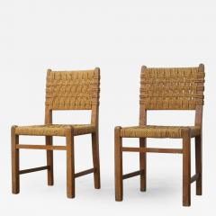 Adrien Audoux Frida Minet Very Rare Pair of Side Chairs by Audoux et Minet Sissal Rope for Vibo Vesoul - 417816
