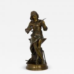 Adrienz tienne Gaudez A Young Bladesmith French Antique Bronze Sculpture by Adrien Etienne Gaudez - 1096456