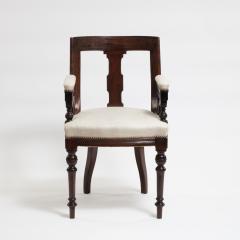 Aesthetic Style Mahogany Armchair with Greek Key Design - 1538614