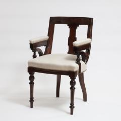 Aesthetic Style Mahogany Armchair with Greek Key Design - 1538618