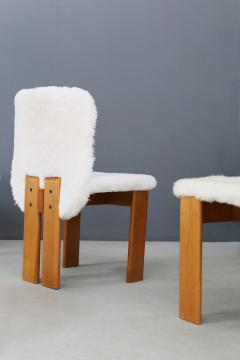 Afra Tobia Scarpa Afra and Tobia Scarpa Set of six chair MidCentury in Fur and wood 1970s - 1386288