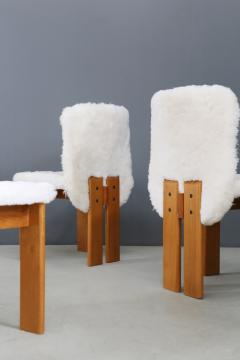 Afra Tobia Scarpa Afra and Tobia Scarpa Set of six chair MidCentury in Fur and wood 1970s - 1386289