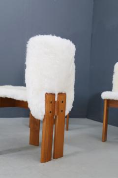 Afra Tobia Scarpa Afra and Tobia Scarpa Set of six chair MidCentury in Fur and wood 1970s - 1386290