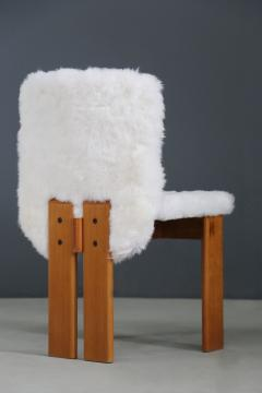 Afra Tobia Scarpa Afra and Tobia Scarpa Set of six chair MidCentury in Fur and wood 1970s - 1386295