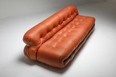 Afra Tobia Scarpa Cassina Soriana Cognac Leather Sofa by Afra and Tobia Scarpa 1970s - 1516461