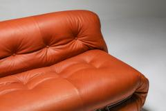 Afra Tobia Scarpa Cassina Soriana Cognac Leather Sofa by Afra and Tobia Scarpa 1970s - 1516467