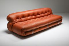 Afra Tobia Scarpa Cassina Soriana Cognac Leather Sofa by Afra and Tobia Scarpa 1970s - 1516469
