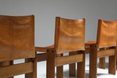 Afra Tobia Scarpa Cognac Leather Monk Dining Chairs by Afra Tobia Scarpa 1970s - 1691663