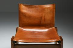 Afra Tobia Scarpa Cognac Leather Monk Dining Chairs by Afra Tobia Scarpa 1970s - 1691664