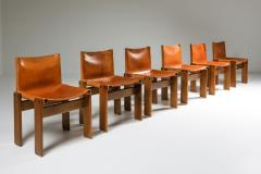 Afra Tobia Scarpa Cognac Leather Monk Dining Chairs by Afra Tobia Scarpa 1970s - 1691668