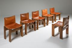 Afra Tobia Scarpa Cognac Leather Monk Dining Chairs by Afra Tobia Scarpa 1970s - 1691670