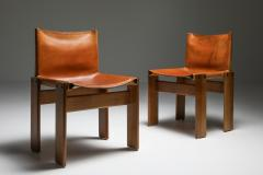 Afra Tobia Scarpa Cognac Leather Monk Dining Chairs by Afra Tobia Scarpa 1970s - 1691672