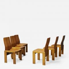 Afra Tobia Scarpa Pair of six Afra Tobia Scarpa MidCentury Chair in wood 1980s - 1211335