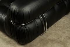 Afra Tobia Scarpa SORIANA TWO SEAT BLACK LEATHER SOFA BY AFRA AND TOBIA SCARPA FOR CASSINA - 1767929